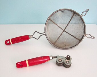 Vintage Strainer and Knife Sharpener with Red Handles -1930s