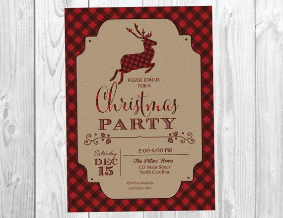 Rustic Christmas Party Invitation / Plaid Flannel Reindeer Holiday Printable Invite