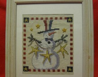 Framed Cross Stitch - Patriotic Snowfriend with Stars