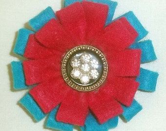 Fuschia and Turquoise Felt Flower Brooch Accessory