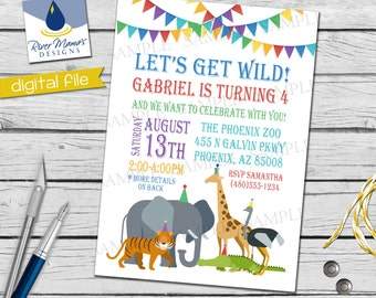 Printable Zoo Animal Birthday Invitation / Digital Jungle Safari Invite / Party Hat Animal Invitation