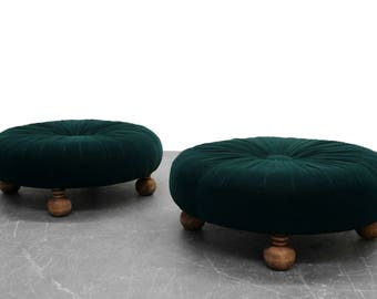 Pair of Antique Emerald Green Velvet Round Button Pleated Ottomans Stools Poufs