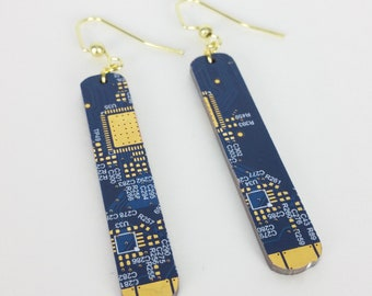 Blue and Gold Circuit Board Earrings - Dangling Rectangle Shape Cutout of a Recycled Motherboard