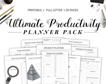 Productivity Planner, Productivity Pack, Productivity Planner Printable, Ultimate Productivity Planner, Project Management, Project Planner