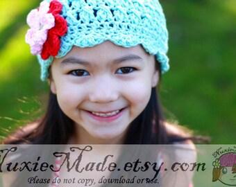 Crochet Winter Robins Egg Blue Hat 12-24 Months, Kids Hat, Flapper Hat, Turquoise Hat, Blue Hat with Flowers, Blue Crochet Girl Hat