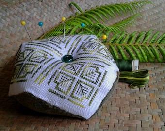 Biscornu Pincushion Pattern - Fern