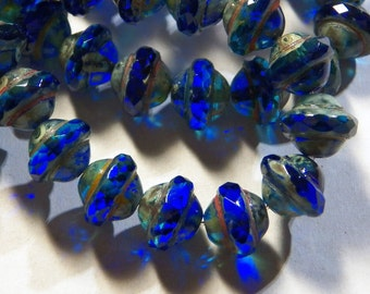 Czech Ocean Blue with Picasso 8x10mm Faceted Fire Polished Glass Saturn Beads (15) 0747
