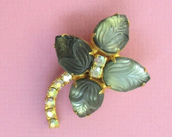 Estate Jewelry Brooch Vintage Flower Brooch Pin Carved Smokey Green Glass Petals Clear Rhinestones Gold Tone Setting