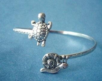 Turtle bracelet wrap style with a snail, snail wrap