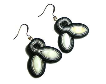 Black and White Soutache Earrings, Simple Drop Earrings, Wearable Art