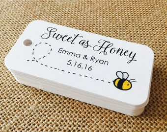 Sweet as Honey Custom Tags, Product Tags, Personalized Tags, Wedding Tags, Product Tags, Gift Tags, Personalized Tags - Set of 20