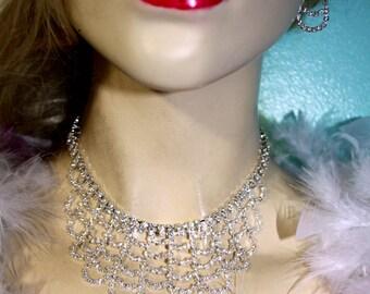 Bib Rhinestone Austrian Crystal Choker Necklace Earring Set Bridal Pageant Prom