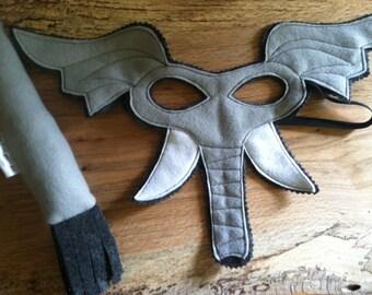 Elephant Costume - Felt Animal Mask - Wool or Eco Felt - Mask and Tail Costume Gift Set