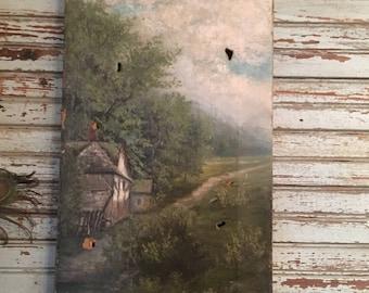 Antique oil on canvas landscape