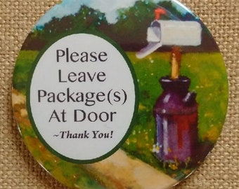 Big Magnet, Please Leave Package(s) At Door, Door Sign, For Delivery Person, Painting of Country Mailbox, Reminder, From Original Art