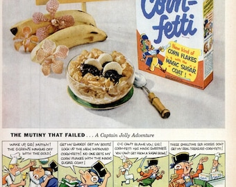 1953 Post's Corn-Fetti Cereal Advertisement Print Ad Poster Breakfast Cereal Kitchen Dining Room Restaurant Diner Wall Art Home Decor