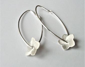 Sterling Silver Oval Hoop Earrings, Beaded Hoop Earrings, Lightweight Hoops, Minimalist Charm Earrings, Gift For Her