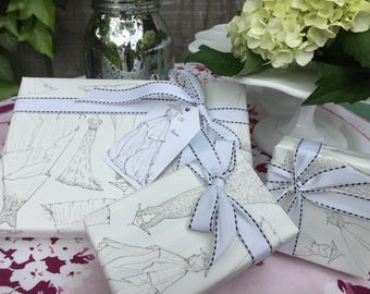 Bridal Gift Wrap Set with Tags