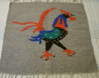 Vintage Hand Woven Textile Wall Hanging Of A Rooster