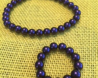 """Purple necklace and bracelet set for American Girl and 18"""" dolls"""