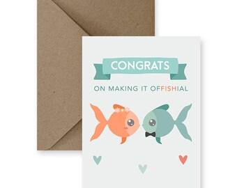 Funny Wedding Card, Cute Wedding Card,  Funny Marriage Card, Cute Marriage Card, Card for Wedding, Congrats on Making it Offishial