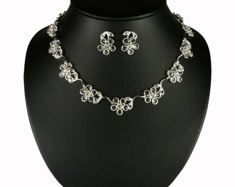 Wedding Jewelry Set - Necklace and Earrings Set - Fiona Necklace & Earrings with Rhinestones - Bridal Accessories