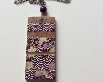 Recycled timber pendant necklace. Camphor Laurel pendant. Washi paper pendant. Amethyst purple washi paper necklace.