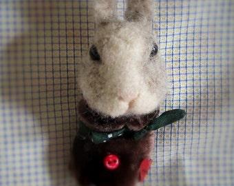 Bunny needle felted brooch