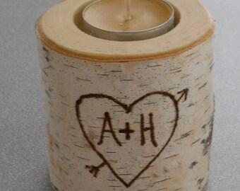 Bougeoir rustique des lumière de thé bouleau personnalisé Saint Valentin mariage