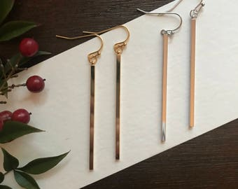 Gold Bar Earring, Silver Bar earring, minimalist earring, minimalist jewelry, stocking stuffer for girl, Valentines gift for her