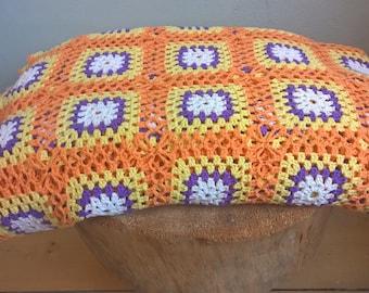 large vintage mid-centuries granny square crochet blanket 240-265 cm, afghan blanket