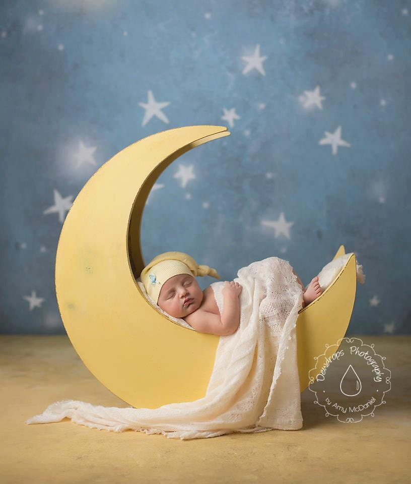 The Original - Moon Prop, Newborn Photography Prop Moon, Moon Photo Prop, Wood Moon Prop