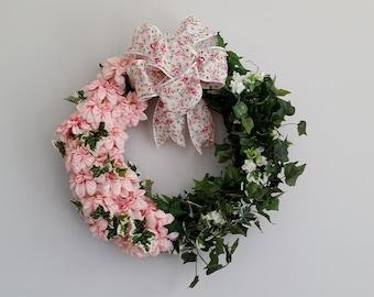 Grapevine Wreath Peach Color Flowers Ivy Greenery Birthday Housewarming Powder Room Kitchen Bathroom Living Room Inner Banks Wreaths