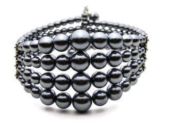 Gray Faux Pearl Memory Wire Cuff Bracelet, Gray Glass Pearl Memory Wire Cuff Bracelet, Gray Pearl Cluster Cuff, Multi Sized Gray Pearls