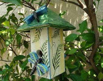 Dragonfly Bird Abode - Painted Handmade Wooden Bird House