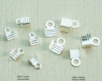 crimp beads - ribbon crimp ends - fold over crimp ends - sterling silver jewelry findings - leather cord fold over crimp beads - 10 pcs