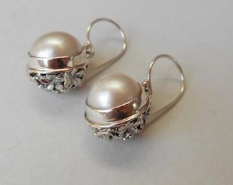 Striking Balinese Sterling Silver mabe white Pearl Dangle Earrings, silver dangle earrings, sterling dangle earrings, women Jewelry Gifts