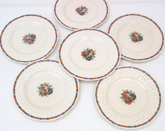 Antique Dessert Plates | Salad Plates | Gainsborough China Plates | Crown Ducal | Bread Butter Plates | Charm Pattern - Set of 6