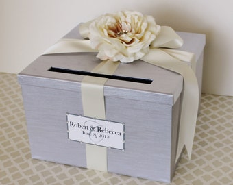 Wedding Card Box Silver Cream Ivory Money Holder Customize in ANY Color and Combination