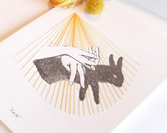 Letterpress artwork, Easter, hand shadow puppet, print stitching, textile art, hand stitched, mixed media wall art, limited edition HARE