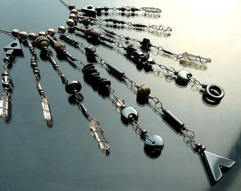 Huge Gypsy Chandelier Crystal Necklace with Hematite raw quartz crystals and sterling silver organized chaos OOAK jewelry