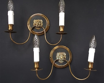 SALE Antique Pair of French Wall Sconces Empire style ,Rare Brass Lions Heads Neoclassical Sconces , Two Candle Pair Sconces with Lions