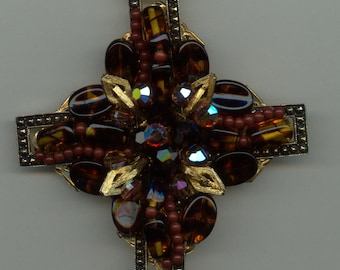 1950s Beaded Brooch and Earrings with Art Glass Beads