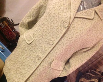 Vintage 1960/coat woman/length 3/4/quilted/Pure wool/TRICOSNOB/jacket long/light jacket / Blazer long/Chartreuse Green