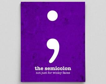 Classroom Decor, Printable Classroom Sign, English Teacher Gift, Grammar Poster, Semicolon Art
