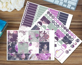 Violet Bloom Horizontal Weekly Kit [95 x Matte] Perfect for your Erin Condren!