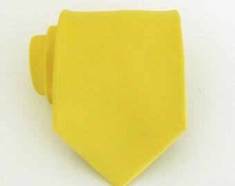 Mens Ties Necktie Lemon Yellow Silk Tie