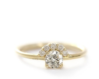 Yellow Gold Diamond Ring, 0.3 Carat Round Diamond Engagement Ring, Diamond Halo Ring, Diamond Crown Cluster Ring