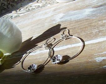 Sterling Flower Dangle Hoop Earrings, Flower Hoops, Boho Flower Hoops, Dangle Earrings, Sterling Flowers