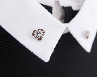 Diamond cross stitch collar pins, comes with detachable chain, gifts for her, gifts under 30, girlfriends